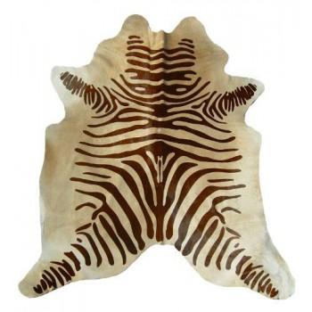 Stenciled Cowhide Zebra On Beige Large