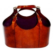 Leather basket-medium
